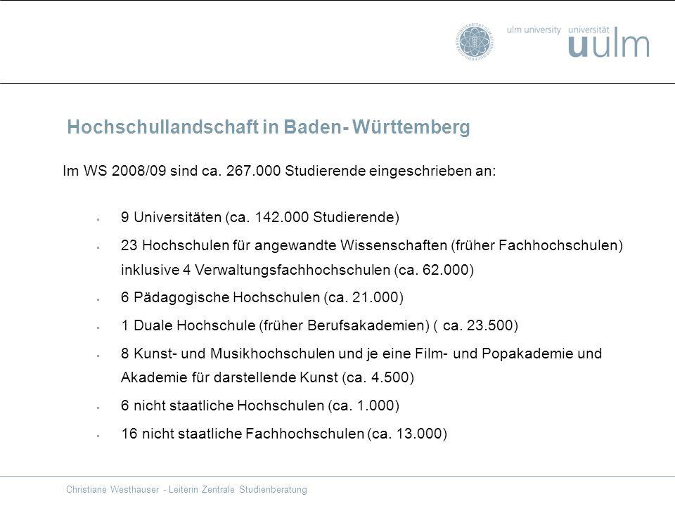 Christiane Westhauser - Leiterin Zentrale Studienberatung Im WS 2008/09 sind ca. 267.000 Studierende eingeschrieben an: 9 Universitäten (ca. 142.000 S
