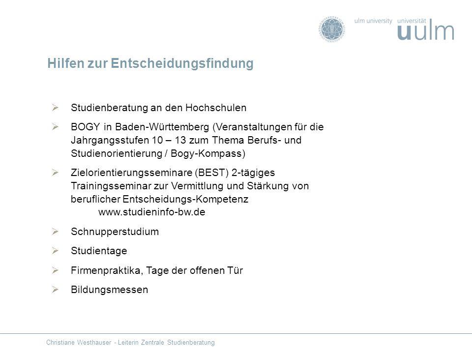 Studienberatung an den Hochschulen BOGY in Baden-Württemberg (Veranstaltungen für die Jahrgangsstufen 10 – 13 zum Thema Berufs- und Studienorientierun