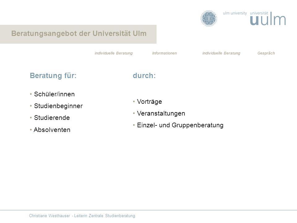 Beratung für: Schüler/innen Studienbeginner Studierende Absolventen durch: Vorträge Veranstaltungen Einzel- und Gruppenberatung Informationen individu