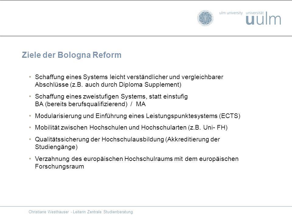 Ziele der Bologna Reform Schaffung eines Systems leicht verständlicher und vergleichbarer Abschlüsse (z.B. auch durch Diploma Supplement) Schaffung ei