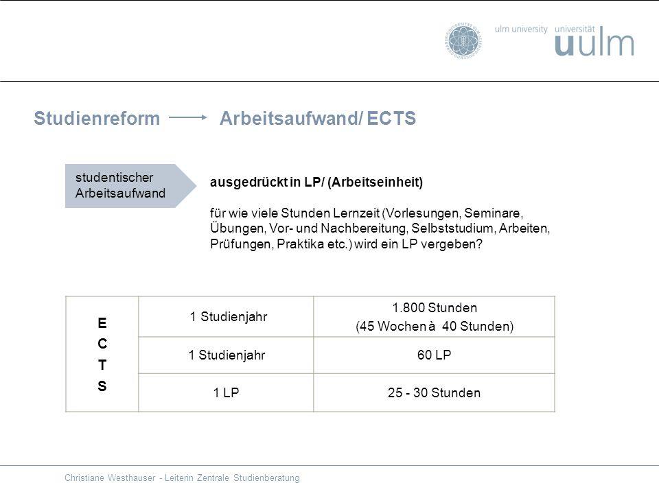 Studienreform Arbeitsaufwand/ ECTS ausgedrückt in LP/ (Arbeitseinheit) für wie viele Stunden Lernzeit (Vorlesungen, Seminare, Übungen, Vor- und Nachbe