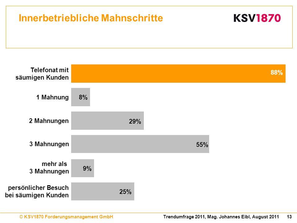 13Trendumfrage 2011, Mag. Johannes Eibl, August 2011© KSV1870 Forderungsmanagement GmbH Innerbetriebliche Mahnschritte 88% 8% 29% 55% 9% 25% 1 Mahnung