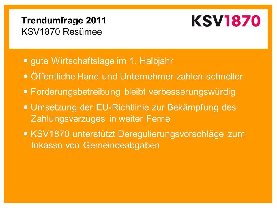 Trendumfrage 2011 KSV1870 Resümee gute Wirtschaftslage im 1. Halbjahr Öffentliche Hand und Unternehmer zahlen schneller Forderungsbetreibung bleibt ve