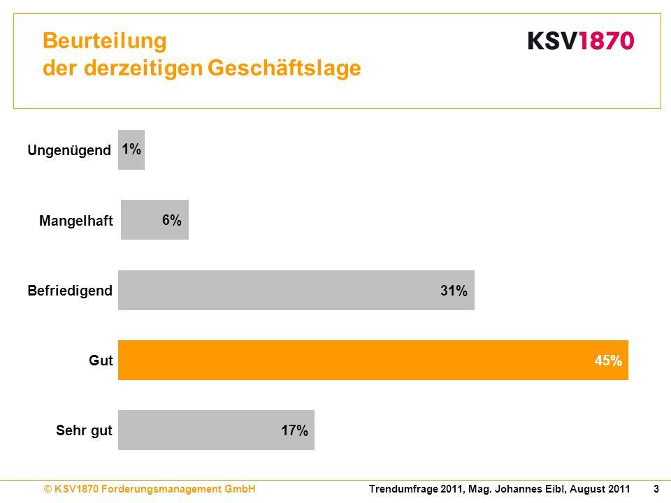 3Trendumfrage 2011, Mag. Johannes Eibl, August 2011© KSV1870 Forderungsmanagement GmbH Beurteilung der derzeitigen Geschäftslage 17% 45% 31% 6% 1% Seh