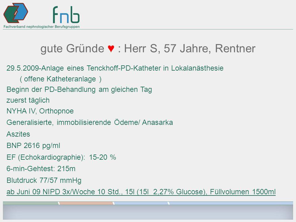 gute Gründe : Herr S, 57 Jahre, Rentner 29.5.2009-Anlage eines Tenckhoff-PD-Katheter in Lokalanästhesie ( offene Katheteranlage ) Beginn der PD-Behand