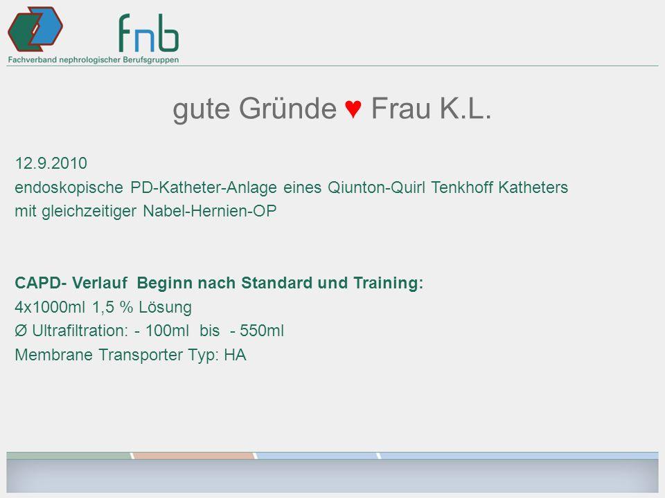 gute Gründe Frau K.L. 12.9.2010 endoskopische PD-Katheter-Anlage eines Qiunton-Quirl Tenkhoff Katheters mit gleichzeitiger Nabel-Hernien-OP CAPD- Verl