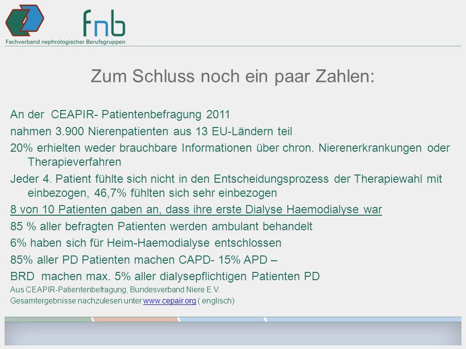 Zum Schluss noch ein paar Zahlen: An der CEAPIR- Patientenbefragung 2011 nahmen 3.900 Nierenpatienten aus 13 EU-Ländern teil 20% erhielten weder brauc