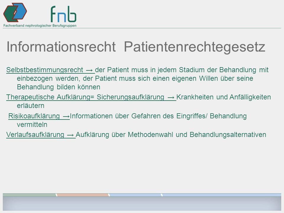 Informationsrecht Patientenrechtegesetz Selbstbestimmungsrecht der Patient muss in jedem Stadium der Behandlung mit einbezogen werden, der Patient mus