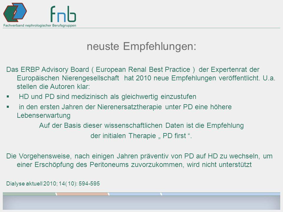 neuste Empfehlungen: Das ERBP Advisory Board ( European Renal Best Practice ) der Expertenrat der Europäischen Nierengesellschaft hat 2010 neue Empfeh
