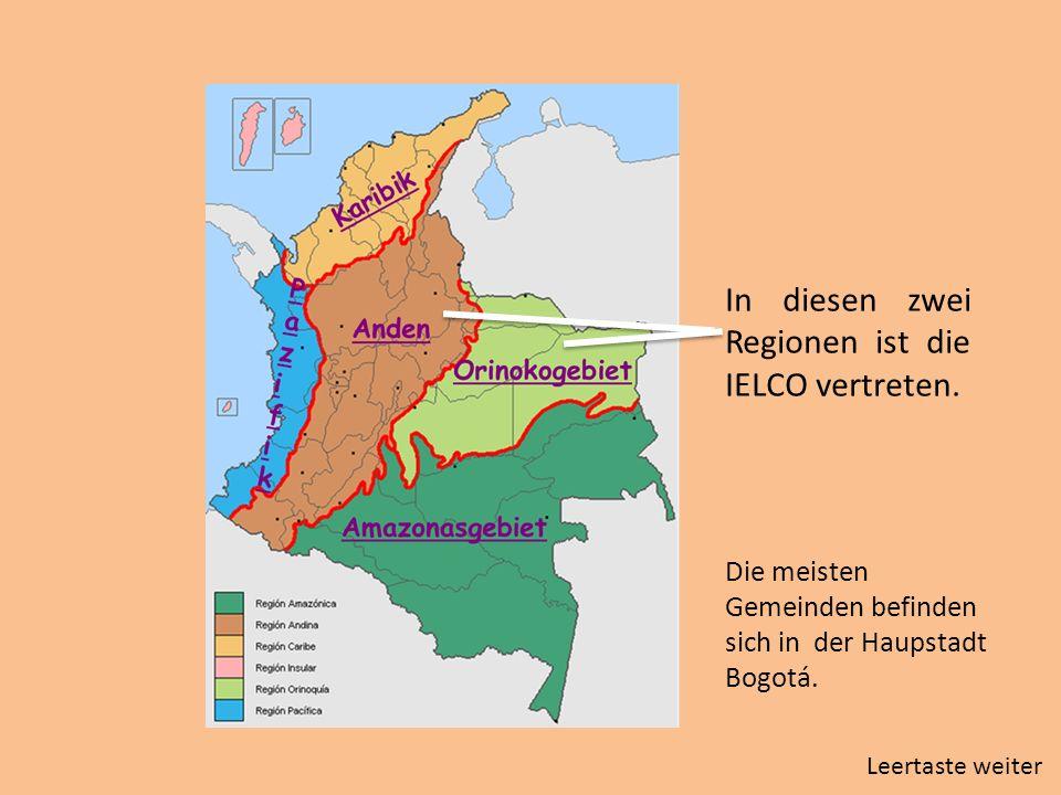 In diesen zwei Regionen ist die IELCO vertreten. Die meisten Gemeinden befinden sich in der Haupstadt Bogotá. Leertaste weiter