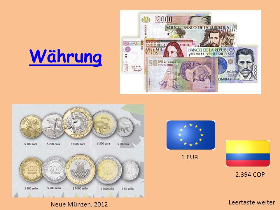 Währung Neue Münzen, 2012 1 EUR 2.394 COP Leertaste weiter
