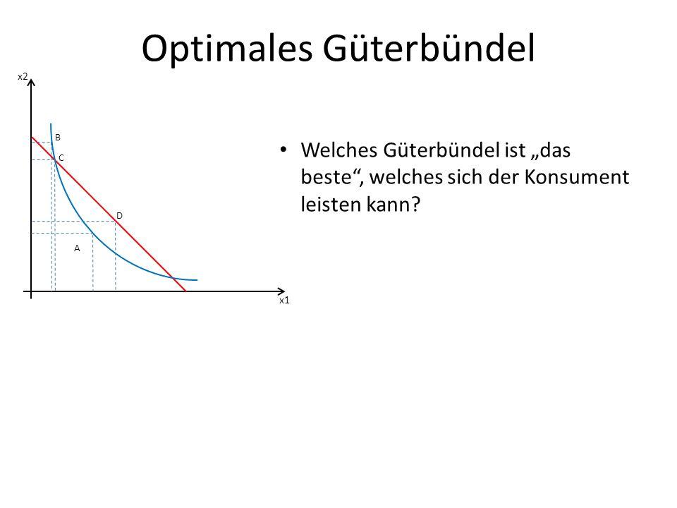 Optimales Güterbündel x1 x2 A A kann nicht optimal sein, denn das Individuum gibt nicht sein ganzes EK aus höherer Konsum stiftet aber höheren Nutzen (Axiom der Nichtsättigung; positiver Grenznutzen) Individuum kann höhere IK erreichen, indem es restliches EK zum Konsum verwendet
