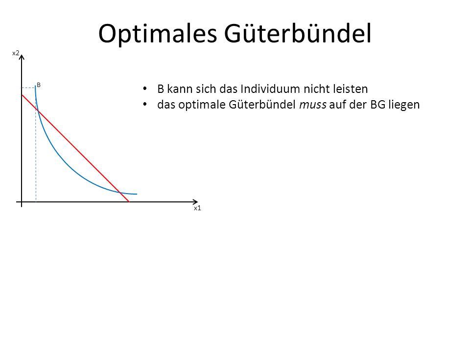 Optimales Güterbündel x1 x2 B B kann sich das Individuum nicht leisten das optimale Güterbündel muss auf der BG liegen
