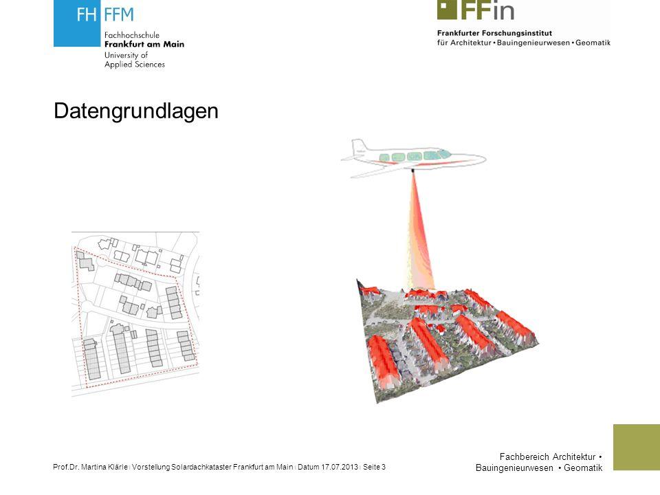 Fachbereich Architektur Bauingenieurwesen Geomatik Prof.Dr.