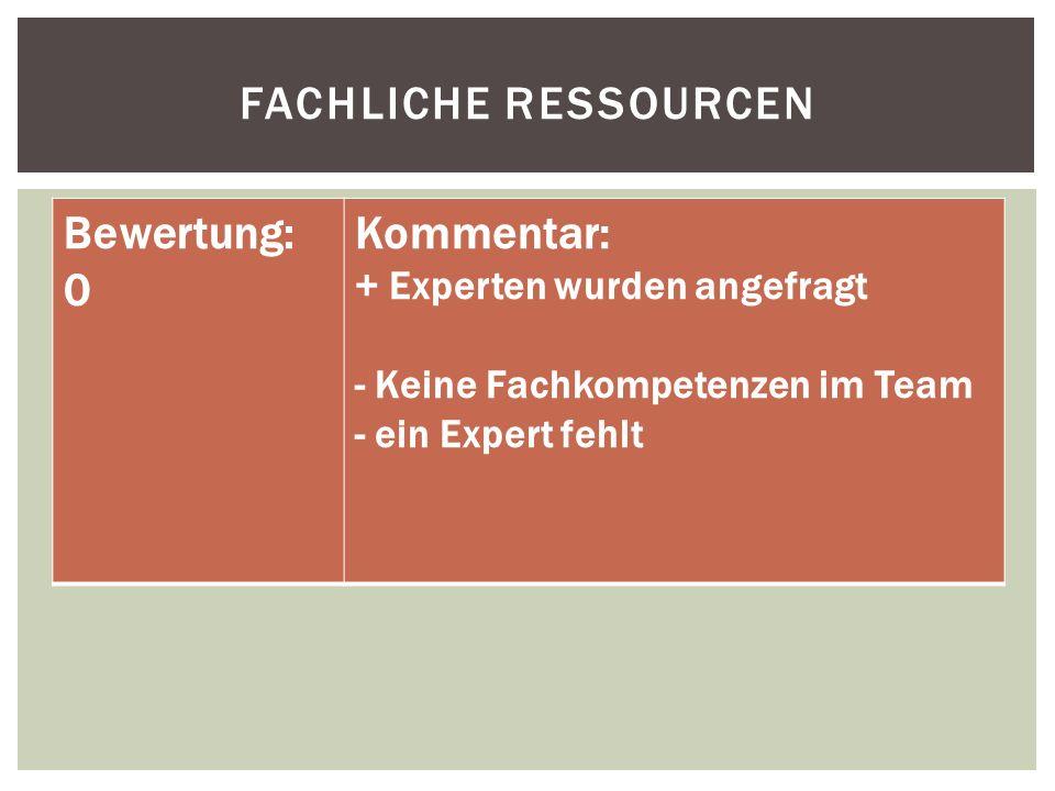 FACHLICHE RESSOURCEN Bewertung: 0 Kommentar: + Experten wurden angefragt - Keine Fachkompetenzen im Team - ein Expert fehlt