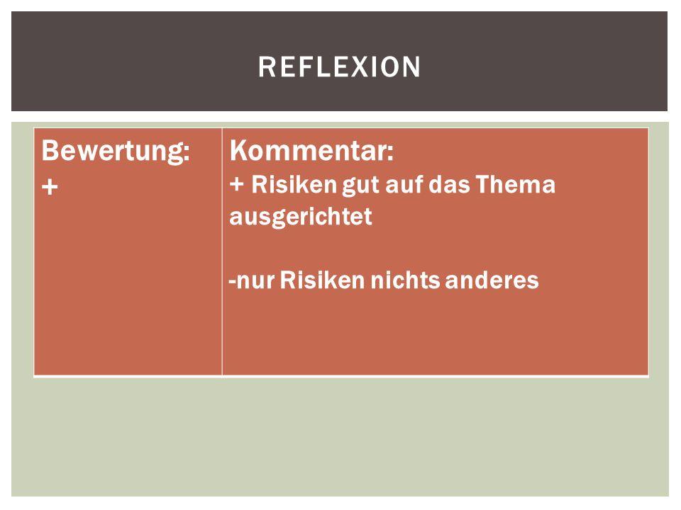 REFLEXION Bewertung: + Kommentar: + Risiken gut auf das Thema ausgerichtet -nur Risiken nichts anderes