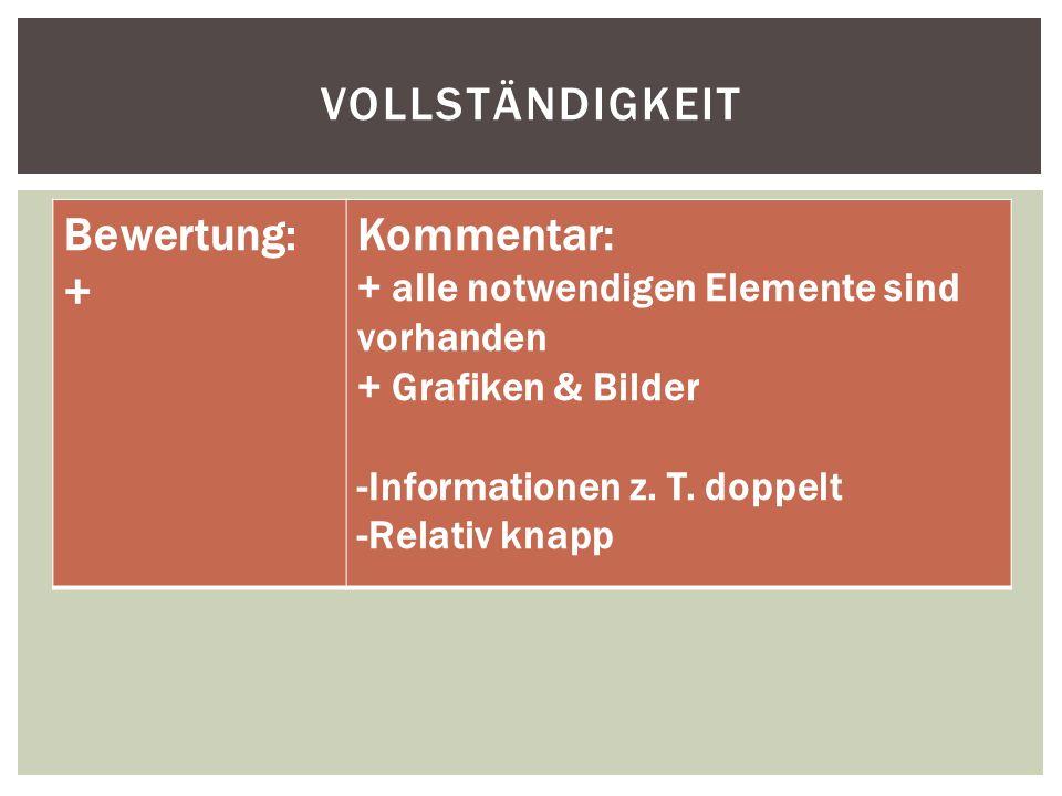 VOLLSTÄNDIGKEIT Bewertung: + Kommentar: + alle notwendigen Elemente sind vorhanden + Grafiken & Bilder -Informationen z.