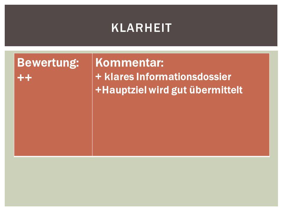 KLARHEIT Bewertung: ++ Kommentar: + klares Informationsdossier +Hauptziel wird gut übermittelt