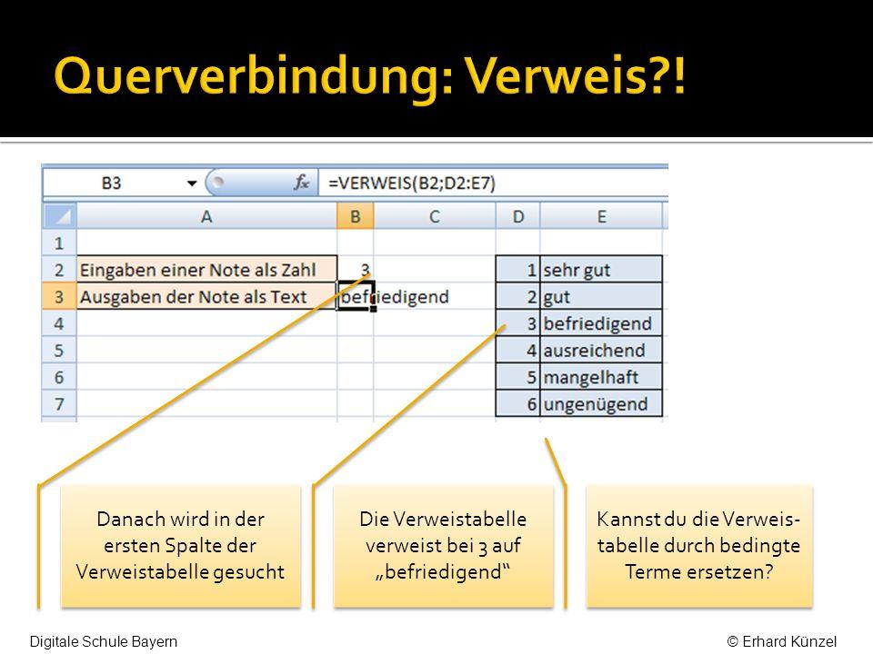 Danach wird in der ersten Spalte der Verweistabelle gesucht Die Verweistabelle verweist bei 3 auf befriedigend Kannst du die Verweis- tabelle durch bedingte Terme ersetzen.