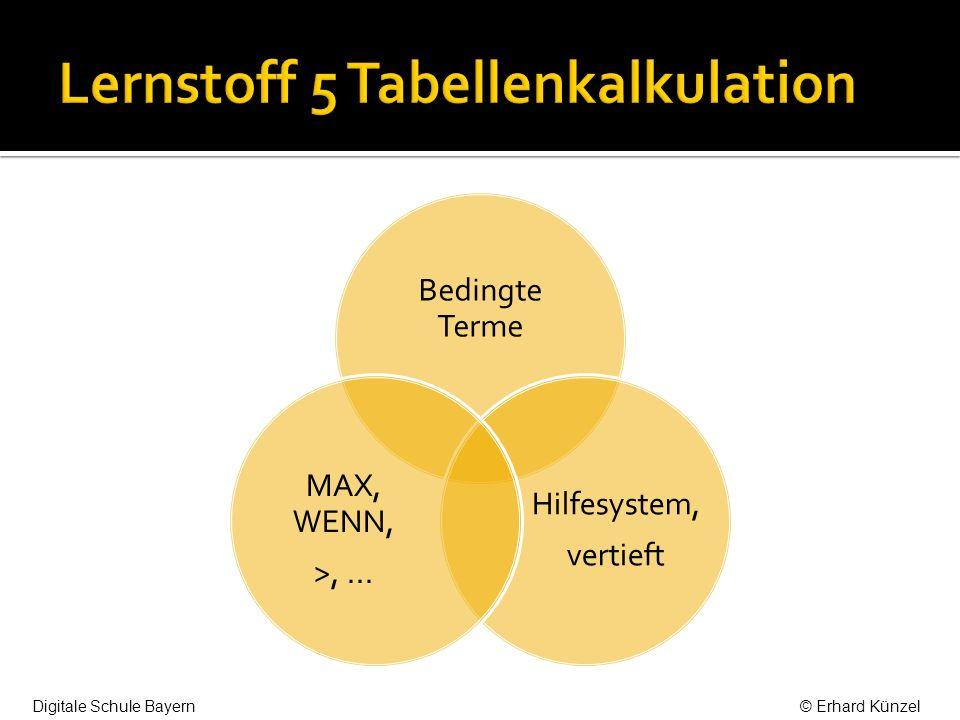 Bedingte Terme Hilfesystem, vertieft MAX, WENN, >,... Digitale Schule Bayern© Erhard Künzel