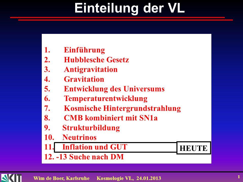 Wim de Boer, KarlsruheKosmologie VL, 24.01.2013 1 Einteilung der VL 1.Einführung 2.Hubblesche Gesetz 3.Antigravitation 4.Gravitation 5.Entwicklung des Universums 6.Temperaturentwicklung 7.Kosmische Hintergrundstrahlung 8.CMB kombiniert mit SN1a 9.