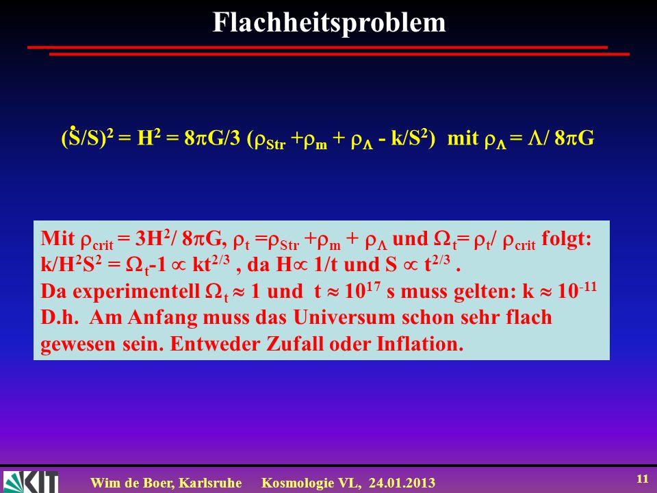 Wim de Boer, KarlsruheKosmologie VL, 24.01.2013 11 Flachheitsproblem (S/S) 2 = H 2 = 8 G/3 ( Str + m + - k/S 2 ) mit = / 8 G Mit crit = 3H 2 / 8 G, t = Str + m + und t = t / crit folgt: k/H 2 S 2 = t -1 kt 2/3, da H 1/t und S t 2/3.