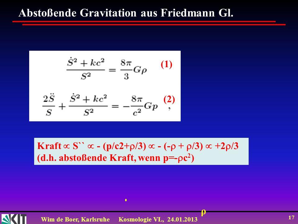 Wim de Boer, KarlsruheKosmologie VL, 24.01.2013 17 Abstoßende Gravitation aus Friedmann Gl.
