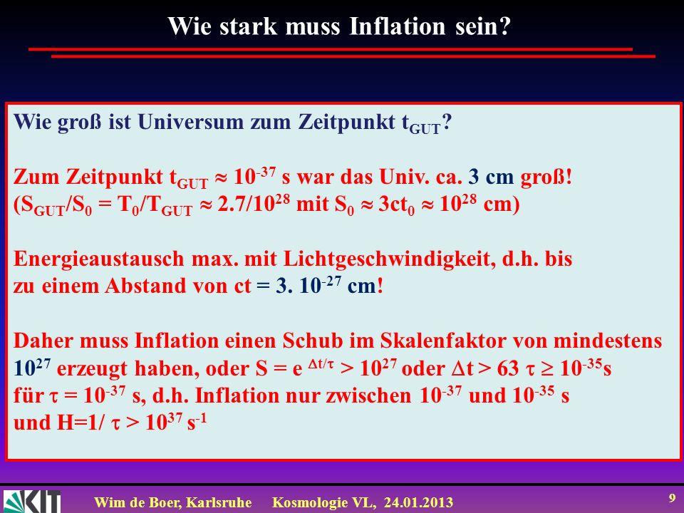 Wim de Boer, KarlsruheKosmologie VL, 24.01.2013 10 Universum mit und ohne Inflation Während Inflation dehnt sich Universum mit Geschwindigkeit v > c aus.