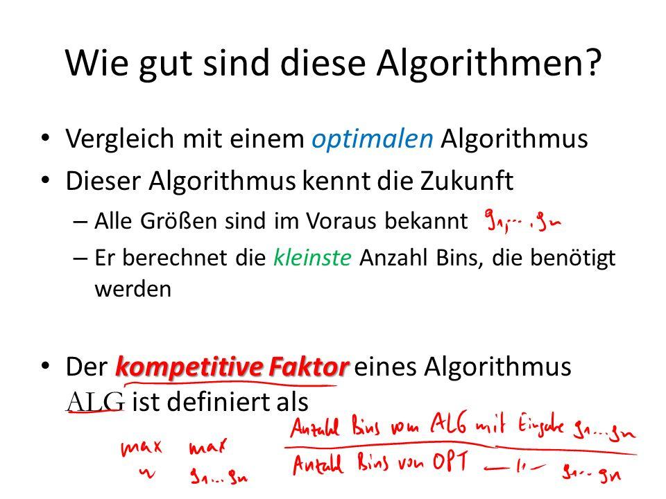 Wie gut sind diese Algorithmen? Vergleich mit einem optimalen Algorithmus Dieser Algorithmus kennt die Zukunft – Alle Größen sind im Voraus bekannt –