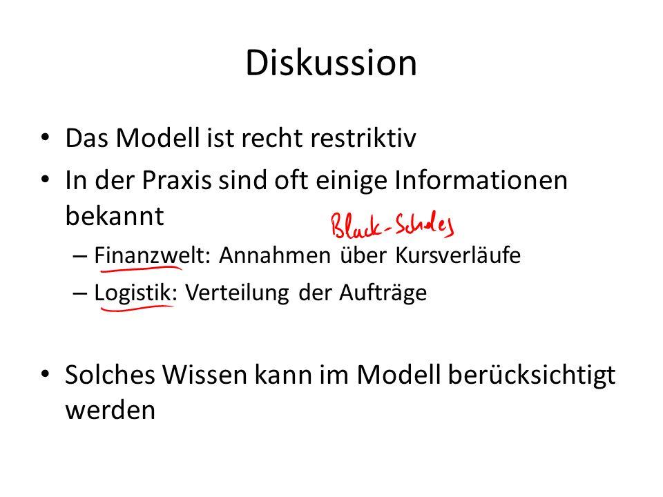 Diskussion Das Modell ist recht restriktiv In der Praxis sind oft einige Informationen bekannt – Finanzwelt: Annahmen über Kursverläufe – Logistik: Ve