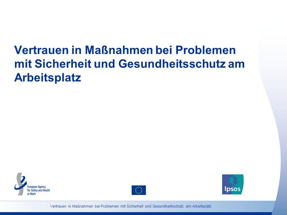25 http://osha.europa.eu Grundgesamtheit: Beschäftigte ab 18 Vertrauen in Maßnahmen bei Problemen mit Sicherheit und Gesundheitsschutz am Arbeitsplatz (Österreich) Wenn Sie ein Gesundheits- und Sicherheitsproblem an Ihrem Arbeitsplatz gegenüber Ihrem Dienstvorgesetzten aufzeigen würden, wie zuversichtlich wären Sie, dass etwas dagegen unternommen wird.