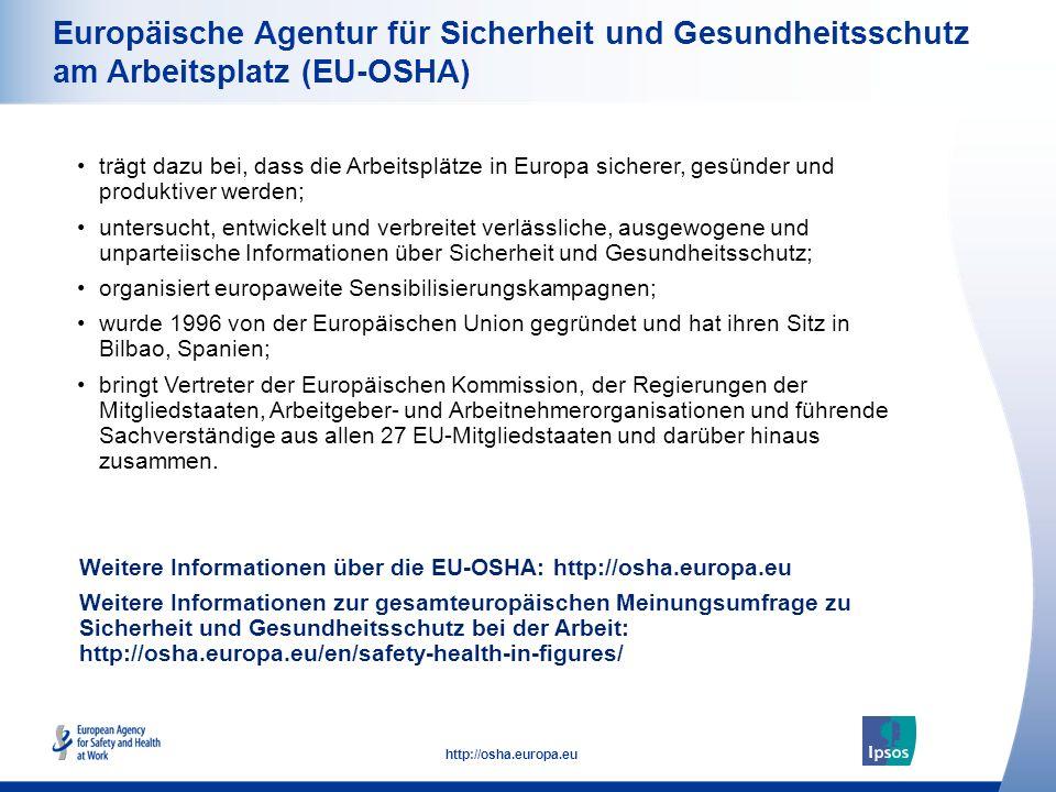 36 http://osha.europa.eu Europäische Agentur für Sicherheit und Gesundheitsschutz am Arbeitsplatz (EU-OSHA) trägt dazu bei, dass die Arbeitsplätze in