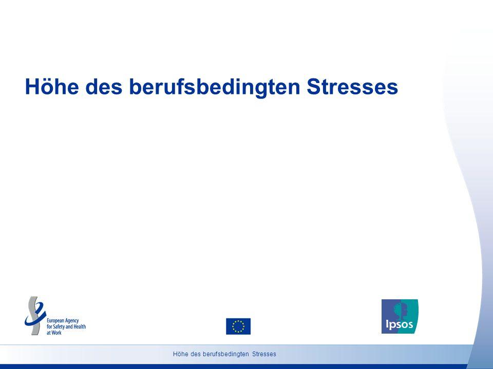 7 http://osha.europa.eu Grundgesamtheit: Bevölkerung ab 18 Jahren Höhe des berufsbedingten Stresses (Österreich) Glauben Sie, dass die Anzahl von Personen, die in Österreich an beruflich bedingtem Stress leiden, in den nächsten 5 Jahren steigen wird, abnehmen wird oder ungefähr gleich bleiben wird.