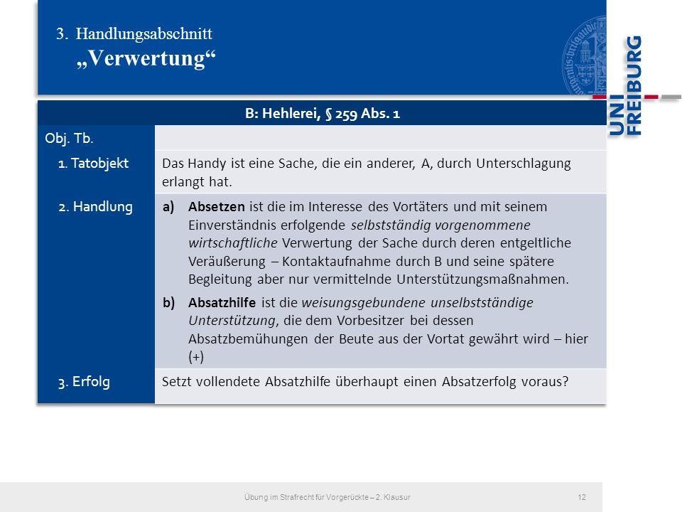3.Handlungsabschnitt Verwertung Übung im Strafrecht für Vorgerückte – 2. Klausur12