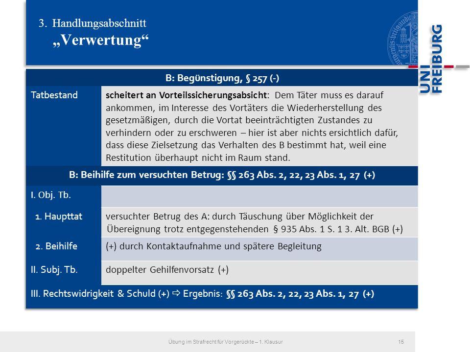 3.Handlungsabschnitt Verwertung Übung im Strafrecht für Vorgerückte – 1. Klausur15