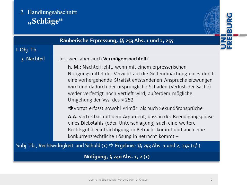2.Handlungsabschnitt Schläge Übung im Strafrecht für Vorgerückte – 2. Klausur10
