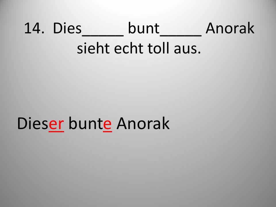 14. Dies_____ bunt_____ Anorak sieht echt toll aus. Dieser bunte Anorak