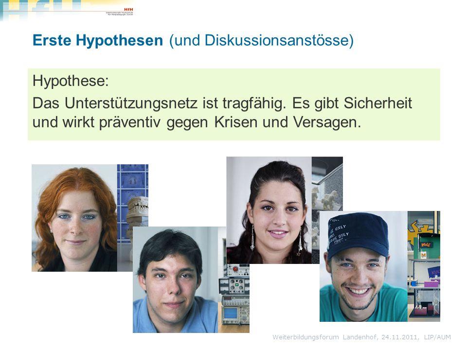 Weiterbildungsforum Landenhof, 24.11.2011, LIP/AUM Erste Hypothesen (und Diskussionsanstösse) Hypothese: Das Unterstützungsnetz ist tragfähig. Es gibt