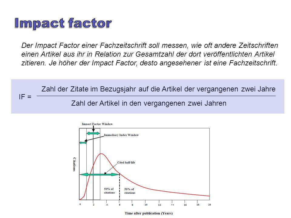 Der Impact Factor einer Fachzeitschrift soll messen, wie oft andere Zeitschriften einen Artikel aus ihr in Relation zur Gesamtzahl der dort veröffentlichten Artikel zitieren.
