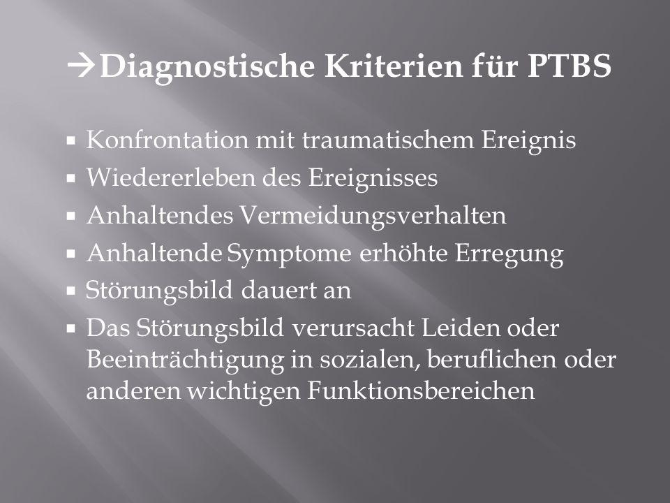 Diagnostische Kriterien für PTBS Konfrontation mit traumatischem Ereignis Wiedererleben des Ereignisses Anhaltendes Vermeidungsverhalten Anhaltende Sy