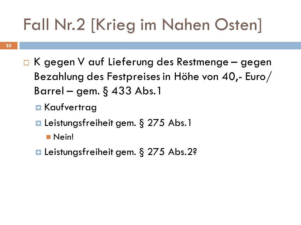 Fall Nr.2 [Krieg im Nahen Osten] 25 K gegen V auf Lieferung des Restmenge – gegen Bezahlung des Festpreises in Höhe von 40,- Euro/ Barrel – gem. § 433