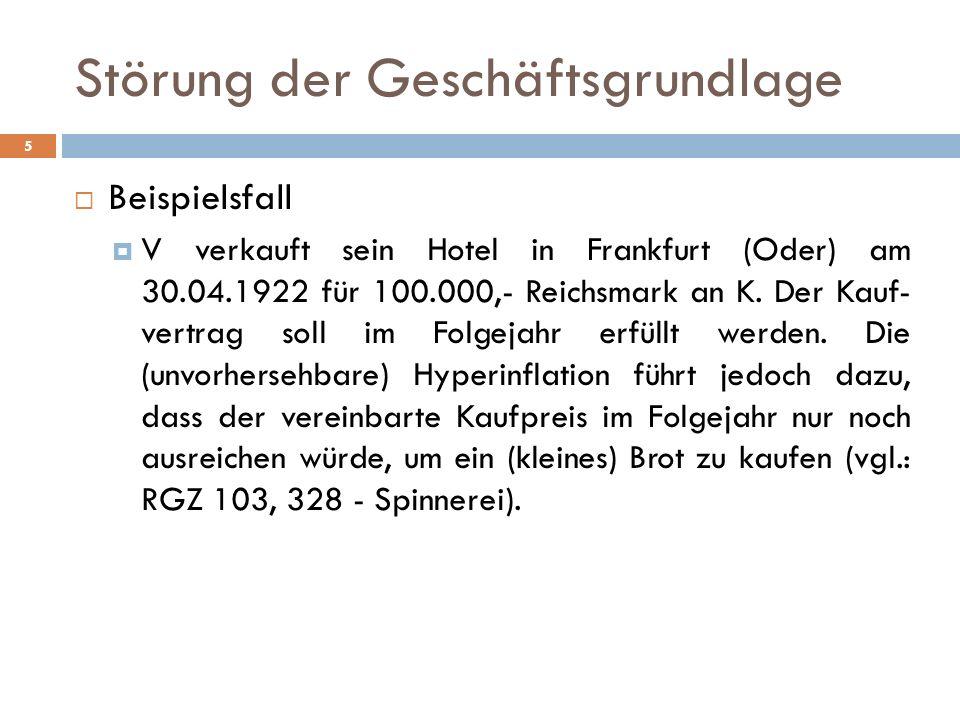 Störung der Geschäftsgrundlage 5 Beispielsfall V verkauft sein Hotel in Frankfurt (Oder) am 30.04.1922 für 100.000,- Reichsmark an K. Der Kauf- vertra