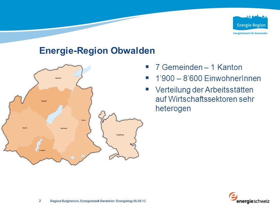 Energie-Region Obwalden 7 Gemeinden – 1 Kanton 1900 – 8600 EinwohnerInnen Verteilung der Arbeitsstätten auf Wirtschaftssektoren sehr heterogen Regina