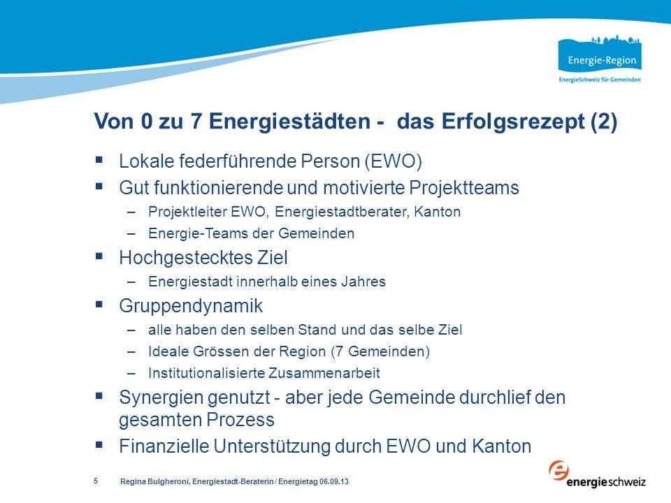 Regina Bulgheroni, Energiestadt-Beraterin / Energietag 06.09.13 5 Lokale federführende Person (EWO) Gut funktionierende und motivierte Projektteams –P