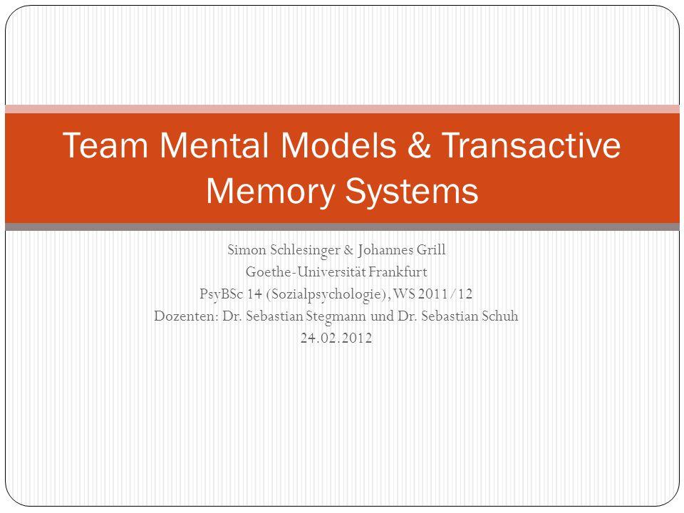Resick et al.: Hypothesen 1(a&b): höhere durchschnittliche kognitive Fähigkeit des Teams bedingt bessere MM-similarity und MM-accuracy 2: die durchschnittliche Verträglichkeit des Teams hängt positiv mit der MM-similarity zusammen 3: zwischen durchschnittlicher Gewissenhaftigkeit des Teams und der MM-accuracy besteht eine positive Relation 4(a&b): die MM-similarity und MM-accuracy eines Teams wirken sich positiv auf die Zielerfüllung aus 5(a&b): die MM-similarity und MM-accuracy eines Teams wirken sich positiv auf den wahrgenommenen Koordinationsprozess aus 6(a&b): die MM-similarity und MM-accuracy eines Teams wirken sich positiv auf dessen Arbeisfähigkeit aus