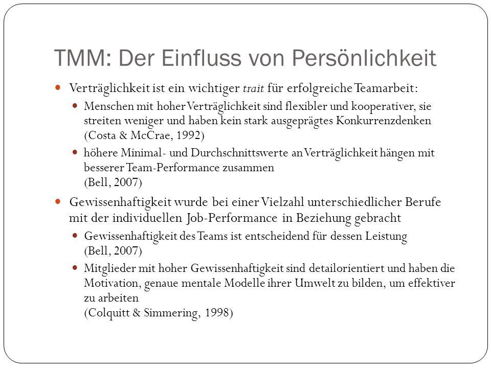 TMM: Der Einfluss von Persönlichkeit Verträglichkeit ist ein wichtiger trait für erfolgreiche Teamarbeit: Menschen mit hoher Verträglichkeit sind flex