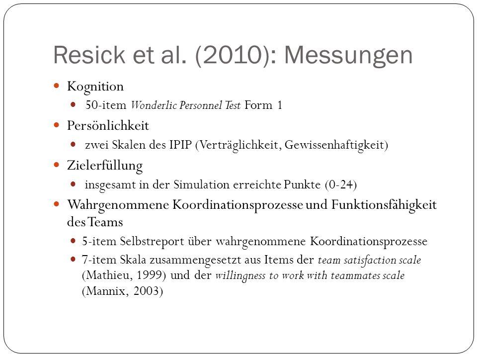 Resick et al. (2010): Messungen Kognition 50-item Wonderlic Personnel Test Form 1 Persönlichkeit zwei Skalen des IPIP (Verträglichkeit, Gewissenhaftig