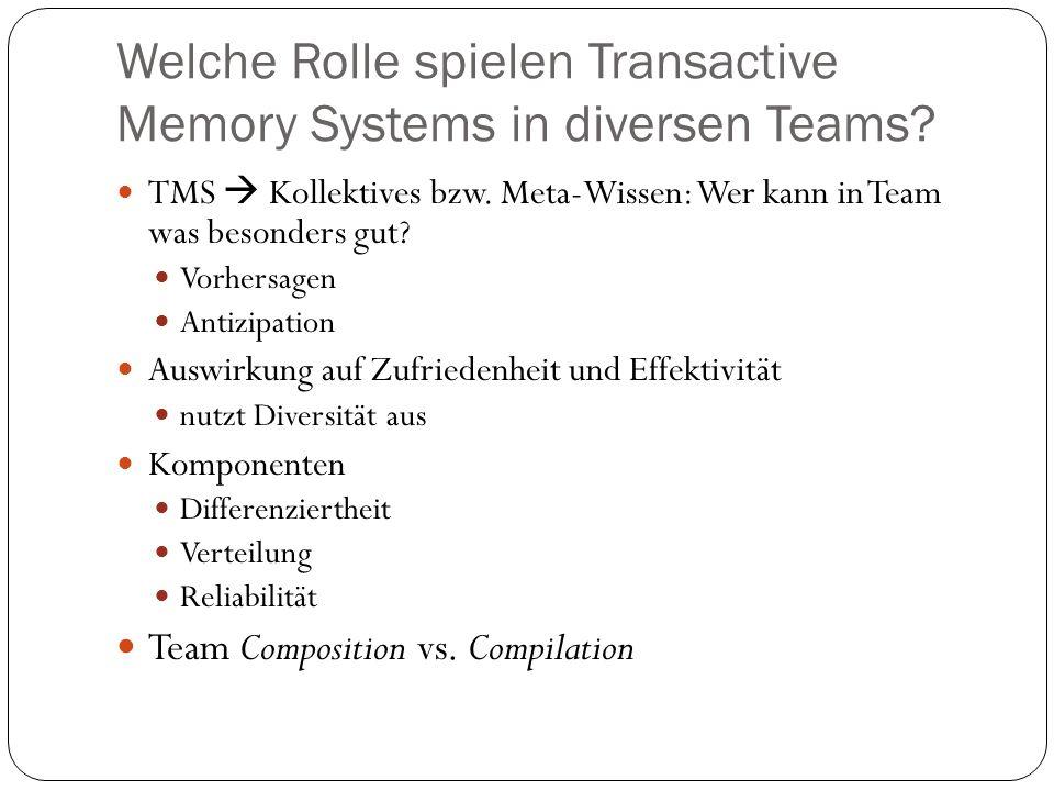Welche Rolle spielen Transactive Memory Systems in diversen Teams? TMS Kollektives bzw. Meta-Wissen: Wer kann in Team was besonders gut? Vorhersagen A