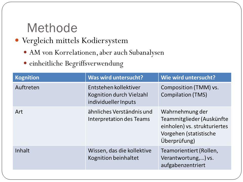 Methode Vergleich mittels Kodiersystem AM von Korrelationen, aber auch Subanalysen einheitliche Begriffsverwendung