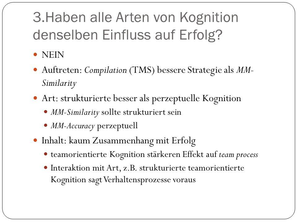 3.Haben alle Arten von Kognition denselben Einfluss auf Erfolg? NEIN Auftreten: Compilation (TMS) bessere Strategie als MM- Similarity Art: strukturie